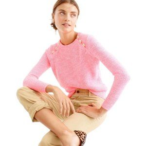 J. Crew Cotton Textured Sweater Anchor Button Pink